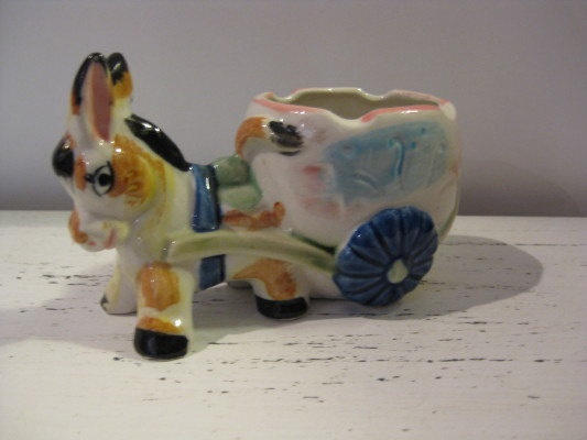 1960's Ceramic Donkey Planter/Vase - Japan