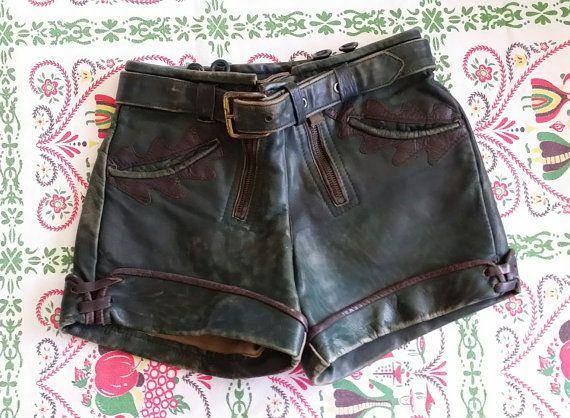 Vintage Lederhosen Leather Childs Shorts by DarlenesCountryGoods