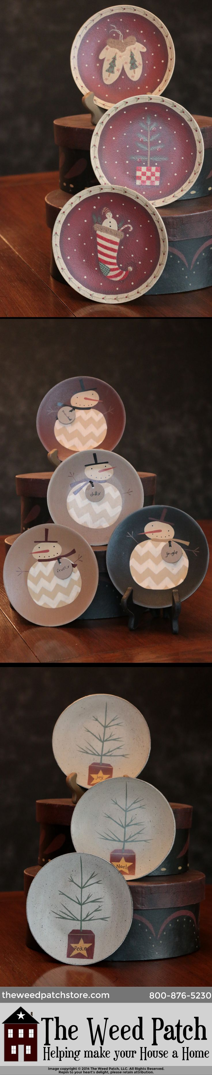 Primitive Christmas Plates by The Hearthside Collection feature everything from feather trees to snowman / snowmen, stockings, candy canes, santas, and more. - The Weed Patch - http://www.theweedpatchstore.com/christmas-country-primitive-christmas/