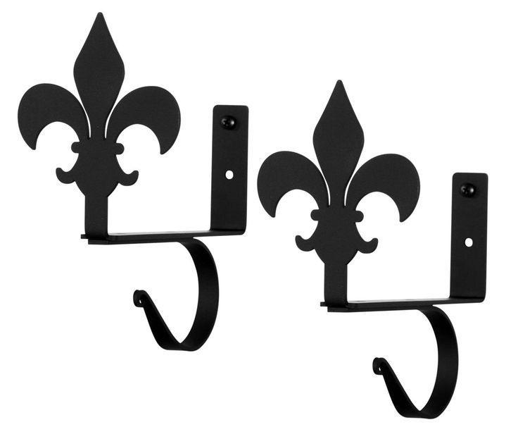 Wrought Iron Fleur-de-lis Curtain Rod & Shelf Brackets