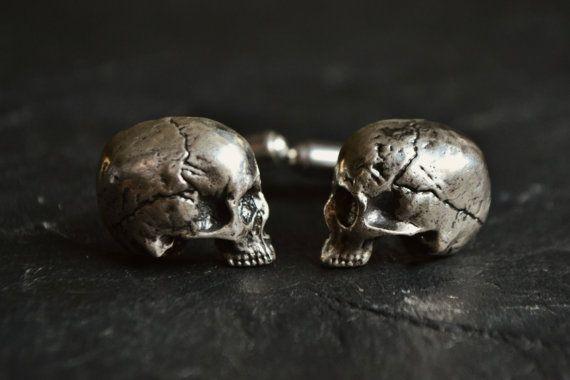 Realistic Skull Cufflinks Sterling Silver Mens Groomsmen Wedding Cufflinks Best Man Gift Luxury Father's Day Memento Mori Cufflinks