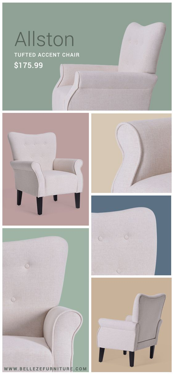 Beautiful Cream Accent Chair | Traditional Button Tufted Chair | Tufted Interior Design Ideas