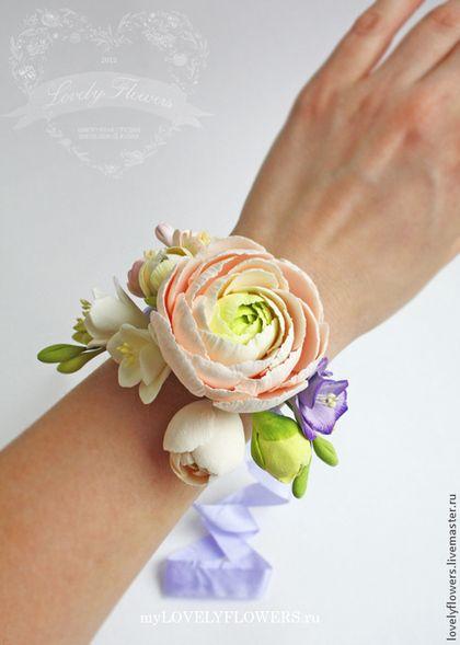 Браслет с ранункулюсом из полимерной глины - белый,цветы ручной работы
