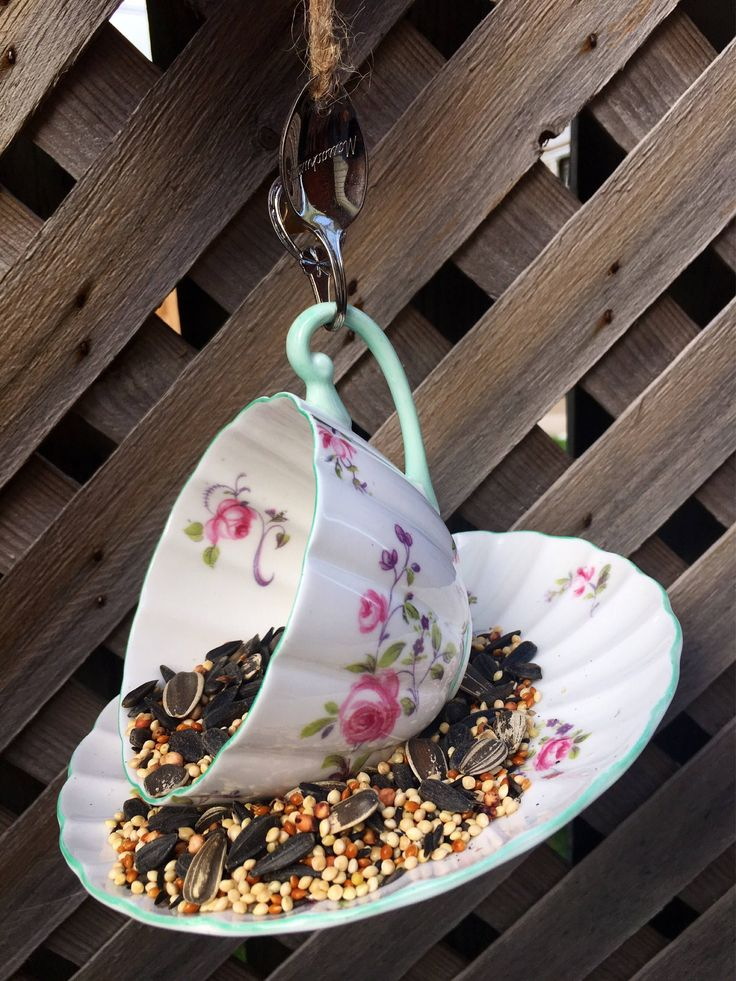 A personal favorite from my Etsy shop https://www.etsy.com/ca/listing/556786893/shelley-floral-teacup-bird-feeder-teacup
