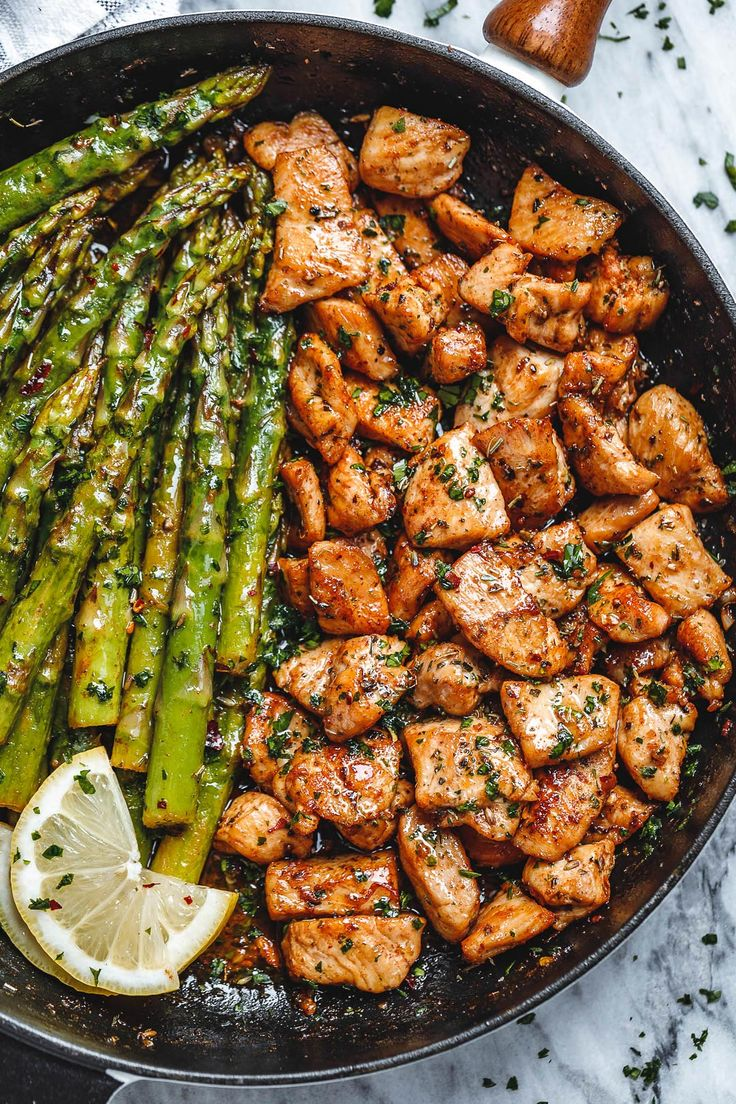 Garlic Butter Rooster Bites with Lemon Asparagus