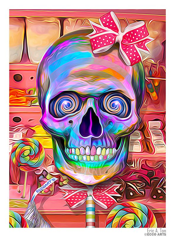 """The skulls of Eric A. Ton have to be some of the brightest, most vibrant skull art I have seen. There is nothing morbid or dark to be found in it; it is as if he has transformed the skull into something more symbolic of happiness and life. """"Over all I hope my art is(...)"""