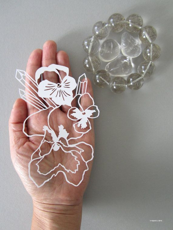 MINI Magical Flower and Crystals Papercut  Pansy with by HybridJ