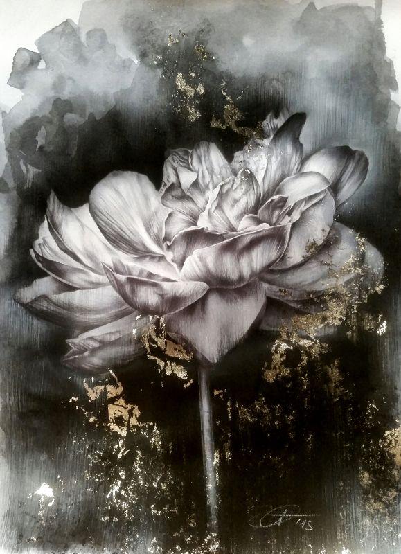 """""""Nell'ombra"""" 20x30/Anno 2015 - Penna a Sfera, acquerello liquido, pastelli Polychromos, acrilico, foglia oro e gessetto bianco su cartoncino bianco liscio."""