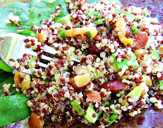 Quinoa Salad with Morroccan Spices, Dried Fruit and Avocado by enlightenedcoooking: @Divya Silbermann (Bhaskaran) #Quinoa_Salad #enlightenedcooking