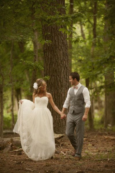 Sweetheart simple lace tulle outdoor wedding dress by Bebowedding::