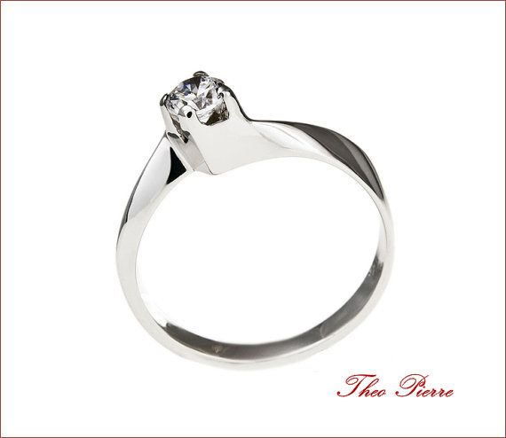 14K Gold Wedding Ring Gold Solitaire Ring Bridal by TheoPierre