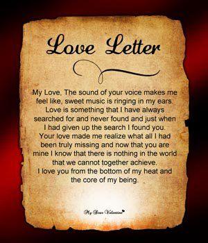 romantischer Liebesbrief für Verlobte