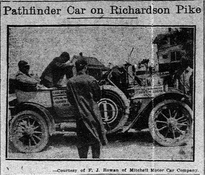 """Greenville Ave  was once called the """"Richardson Pike"""" or """"Richardson Rd"""", it was the North Central Exp of today.  Richardson Pike, was an important thoroughfare for the residential areas in East Dallas as well as Highland Park.  The pictutre taken in 1910 is of a Pathfinder car which  searchs for a reliable route for an automobile race or tour. The route into Dallas from the N. came in from Texarkana, McKinney, Plano, Richardson and into Dallas via the Richardson Pike."""