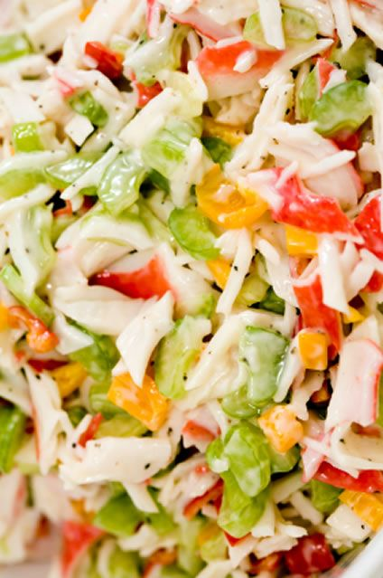 Simple Cold Crab Salad recipe: Just Yellow Bell Pepper, onion, lemon juice, #crab, mayo, celery, tomatoes