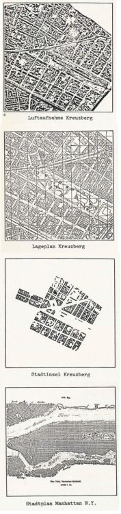 O. M. UNGERS KREUZBERG vs. MANHATTAN [FROM CITIES WITHIN THE CITY, PROPOSALS BY THE SOMMER AKADEMIE FOR BERLIN, 1977]