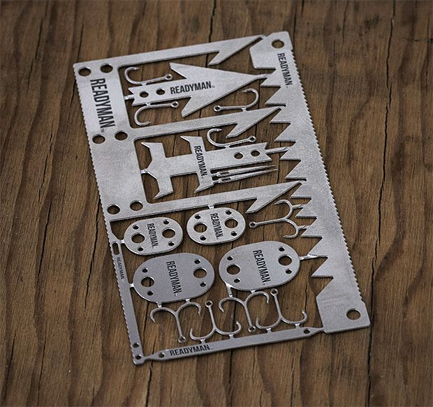 Readyman Wilderness Survival Card. -- Developed by US Special Ops Forces of the Navy SEALs & Army Green Berets, the Wilderness Survival Card is credit card-sized metal survival tool you can carry in your wallet. It has arrowheads, fishing hooks, snare locks, a trident for gigging fish or small game plus sewing needles, tweezers, & multiple saw blades. $12.85