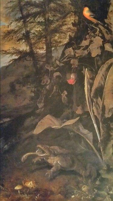 MATTHIAS WITHOOS called CALZETTI o CALZA BIANCA  ( Amersfoort 1627 - HORN 1703 ). PAESAGGIO CON VEGETAZIONE DI SOTTOBOSCO, RETTILI E UN UCCELLO. olio su tela. 101 × 80,5 cm.