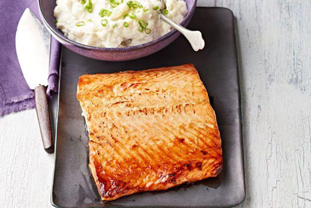 Honey-Dijon Salmon with Creamy Cauliflower Mash Image 1