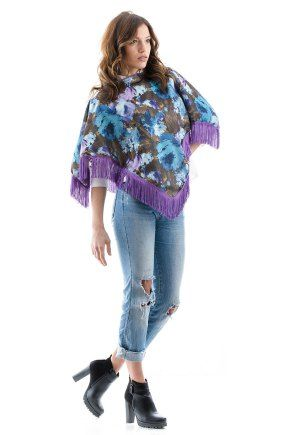 Poncho with Purple Fringes by m.a.d.e. couture