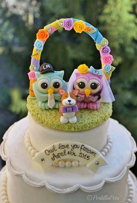 Owl Wedding Cake Topper