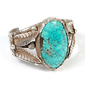 Navajo Silver Cuff Bracelet and Spiderweb Turquoise, pre 1960's