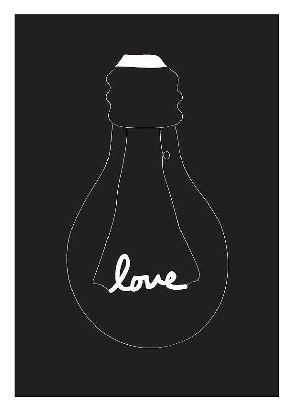 Lovely Light Bulb - Black - Typography Love Children Decor Kids Wall poster Wedding Birthday Anniversary GIft Home decor
