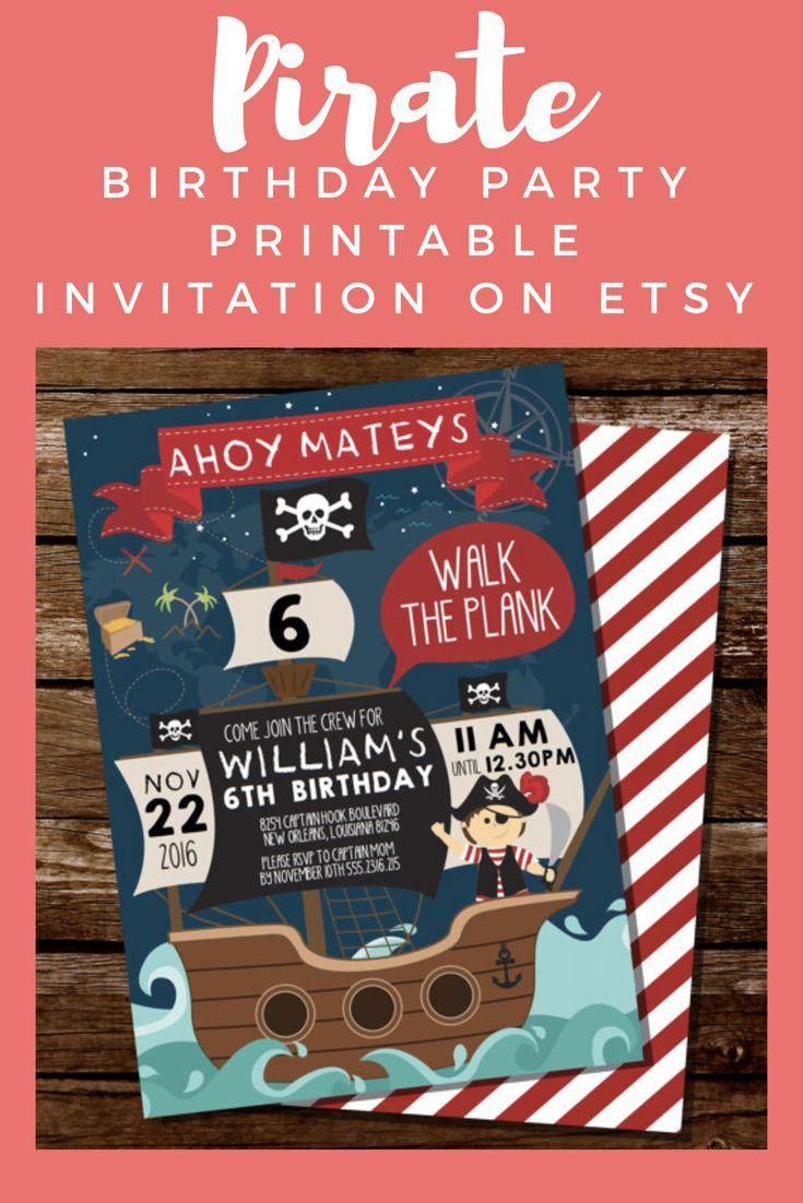 Pirate Party Invitation - Pirate Map Invitation - Pirate Ship Party ...