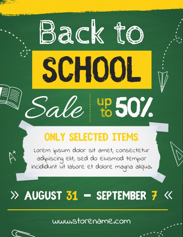 Printable Creative Back To School Sale Flyer Template Back To