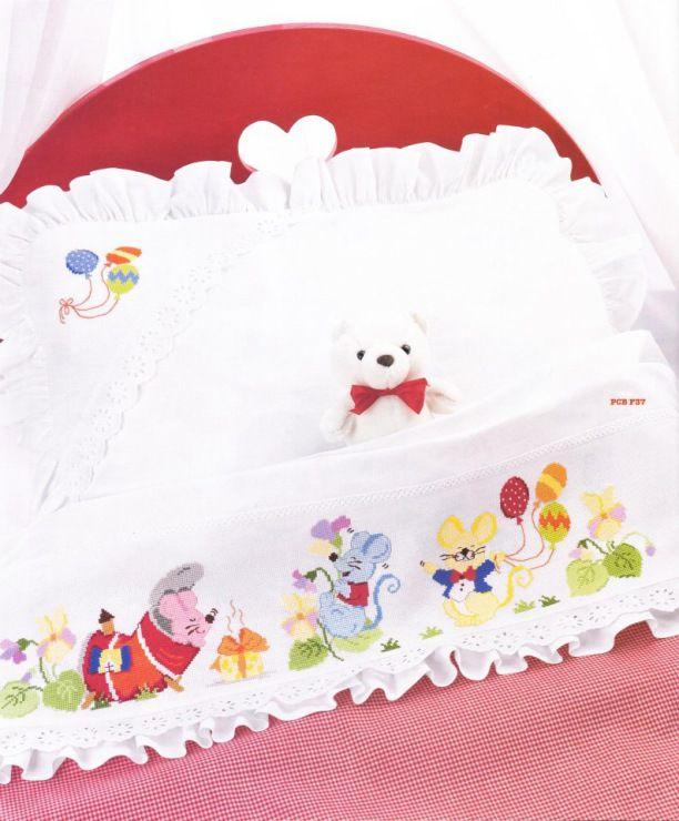 juegos de cama en punto de cruz para bebe
