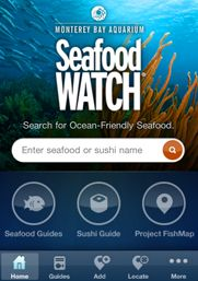 Seafood Watch mobile app to help select sustainable seafood while shopping or eating out.