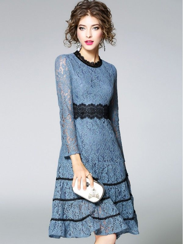 985eaccd9f Shop - Blue Hollow Out Lace Swing Midi Dress on Metisu.com. Discover  stylish and vogue women s dresses for the season. Regular discounts up to  60% off.