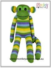 Green Yellow Blue thin Sock Monkey Adopt over at monkeyandme.com.au #sockmonkeys #gifts #toys #monkey