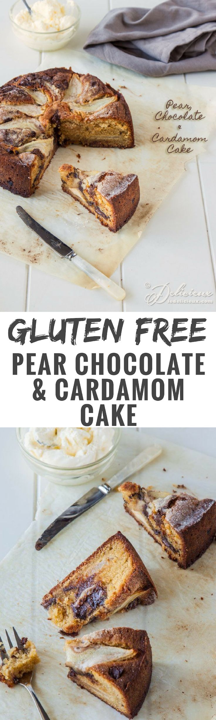 Pears and chocolate are a classic combination that get elevated to a whole other level in this gorgeous gluten free cardamom cake recipe.