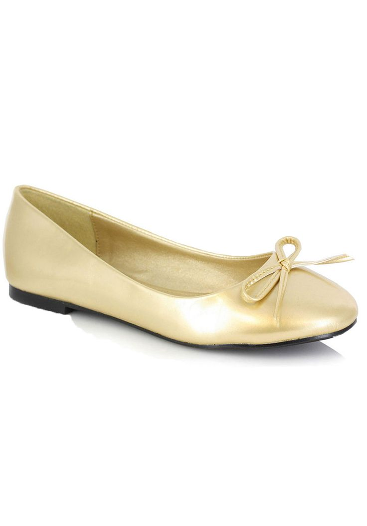 Gold Mila Ballet Flat With Bow