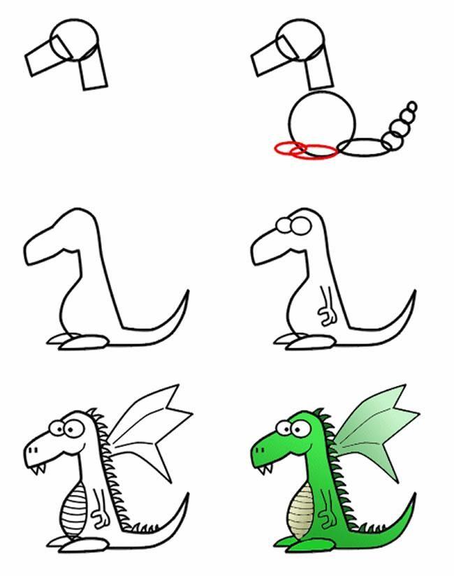 Dibujo para colorear Como dibujar Dragón (comic)