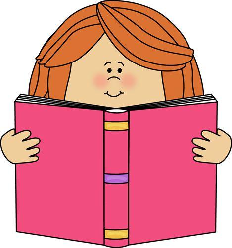 Girl Reading Clip Art | Girl Reading a Book Clip Art Image - girl holding a book…