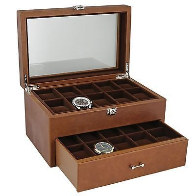 Brown Genuine Leather 20 Watch Collectors Box with Drawer by Aevitas *    * About Us  * Payment  * Delivery  * Returns  * Contact Us  Show Menu * Watch Boxes  * Watch Winders  * Jewellery Boxes  * Stackers  * Gifts For Him  * Gifts For Her  * Other Items   *   *   *   *   *    *   *   *   *   *   BROWN GENUINE LEATHER 20 WATCH COLLECTORS BOX WITH DRAWER BY AEVITAS Product Details:  Superb Quality and Design, the luxury look of this Cognac Brown Genuine Leather watch box is just perfect. It…