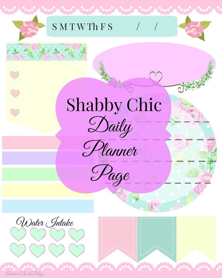 Free Printable Daily Planner Page Shabby Chic Andrea