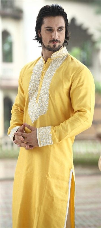 ✿ ❤ Indian style, Pathani Suit, Silk cotton, Thread, Machine Embroidery, Yellow Color Family