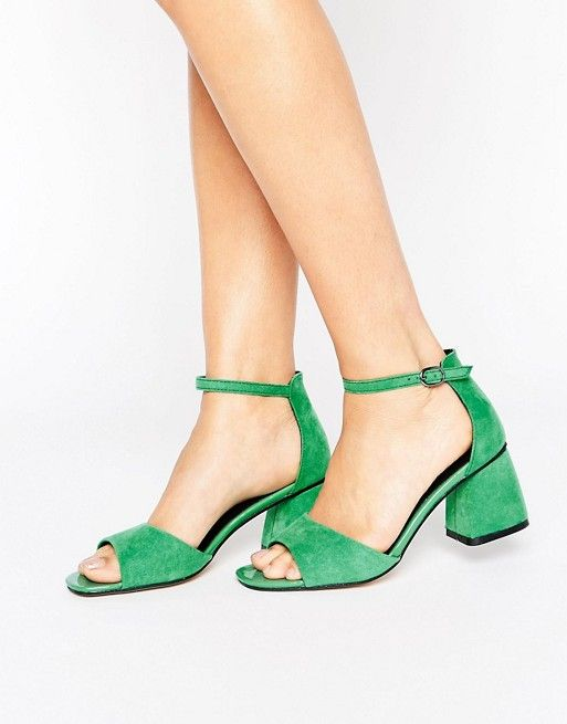 Lost Ink | Lost Ink Maci Green Mid Heeled Sandals