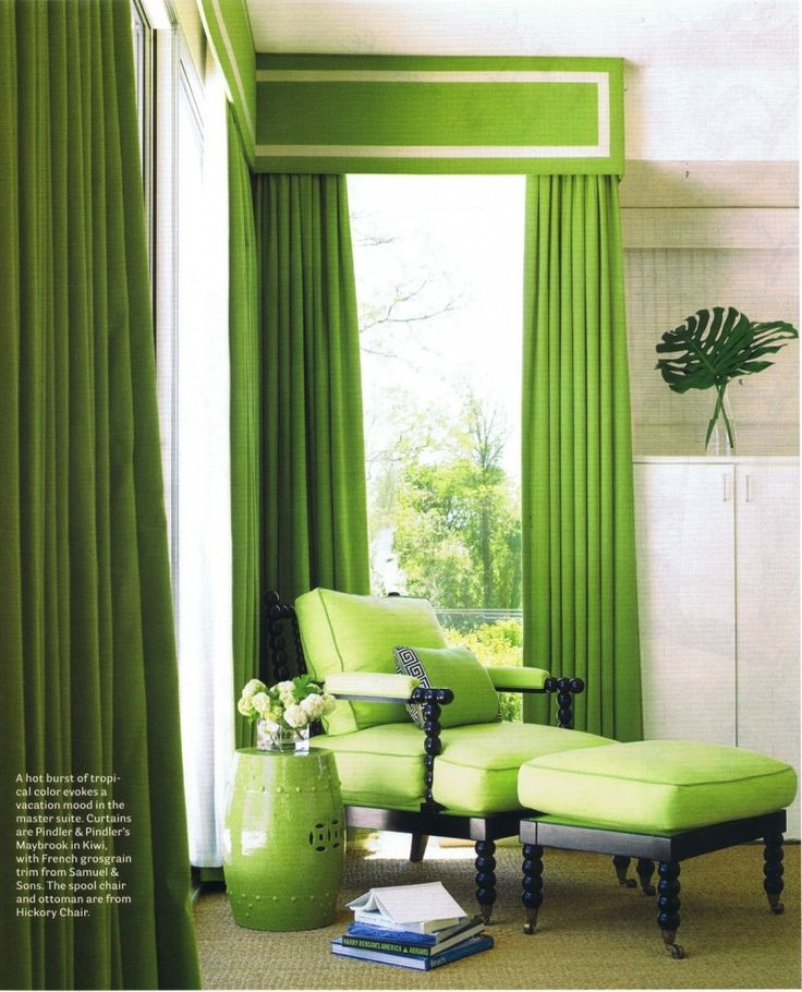 window curtain ideas | Window Curtains and Drapes Ideas » Gorgeous Tropical Green Curtain ...