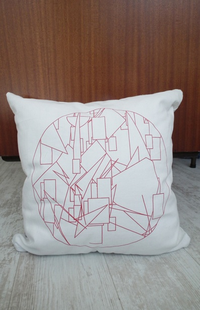 Geometric Scatter Cushion - screen print on White cotton/linen - www.unwrapped.co.za