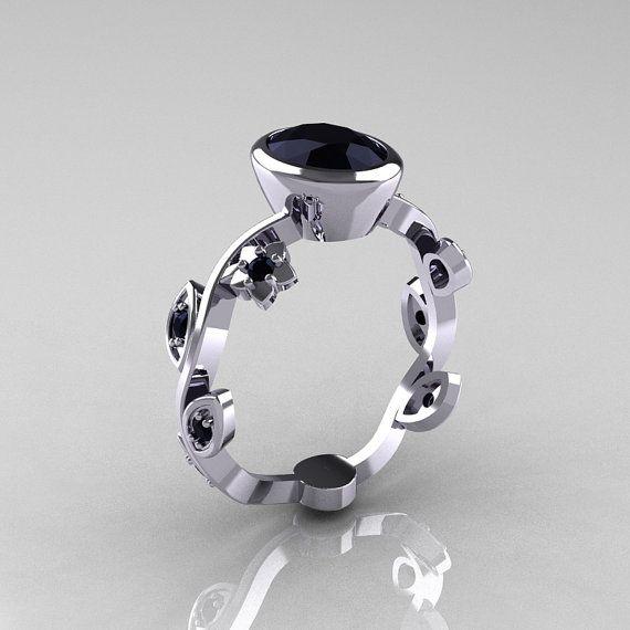 Classic 14K White Gold 1.0 Carat Oval Black Diamond by artmasters, $899.00