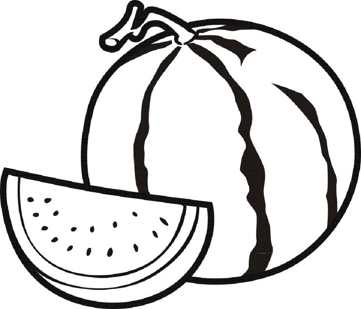31 best fruits coloring pages images on pinterest | coloring ... - Slice Watermelon Coloring Page