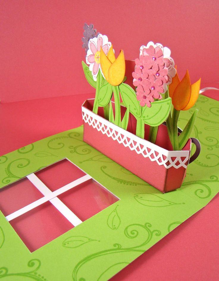 ctmh  scrapbook snippets spring flower popup card  pop