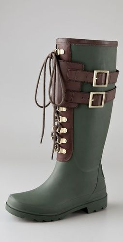 I generally hate rain boots, but these are cute...Tory Burch Buckle Rain Boots