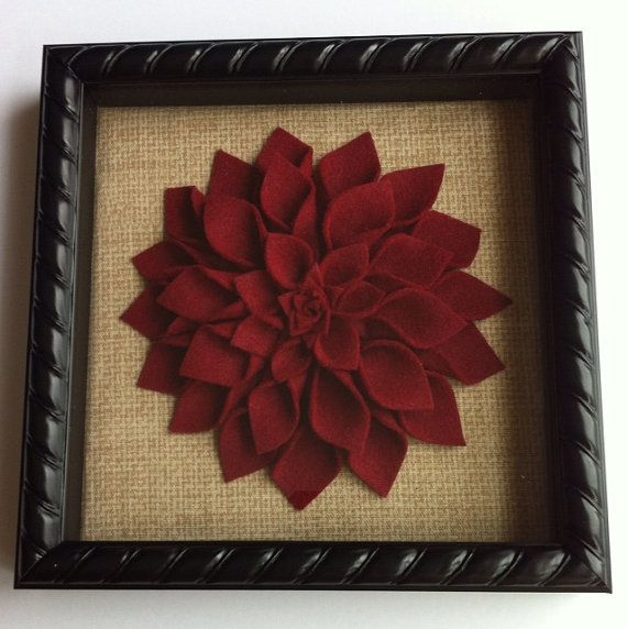 Framed Burgundy Felt Dahlia Wall Decor   8x8 Black Shadow Box With Beige  And Light Brown