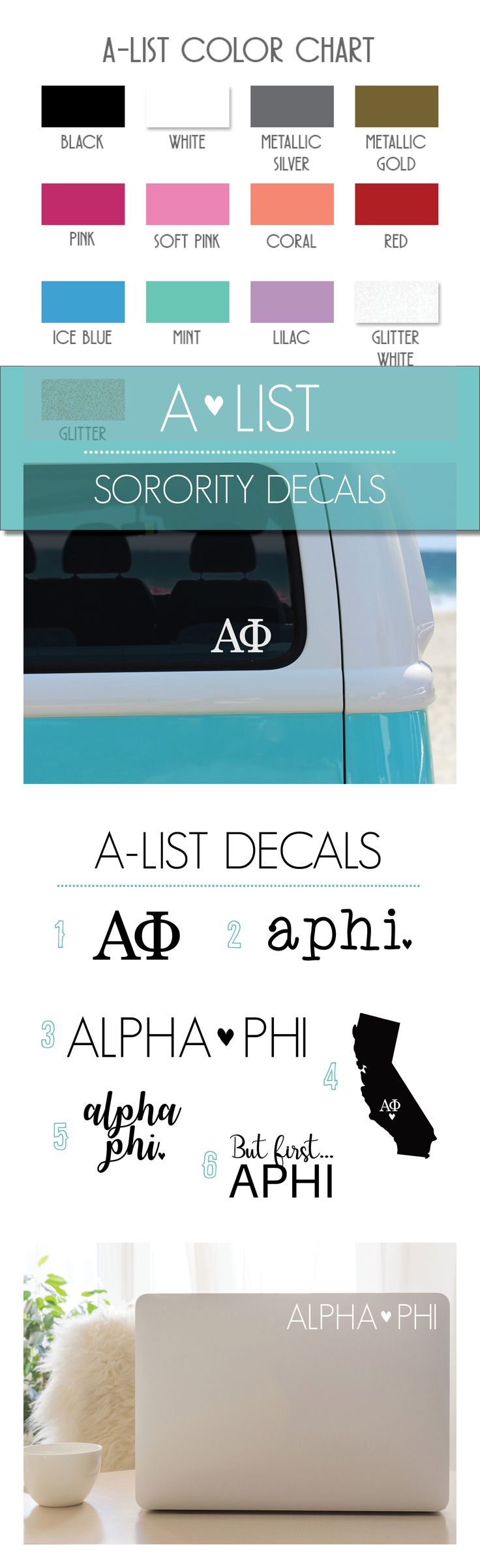 Alpha Phi Decal 6-Pack These custom cut Alpha Phi vinyl adhesive decals are perfect for your car, computer, water bottle, phone case, binders, and more! You can apply these APhi decals to any hard surface. The possibilities are endless! Each decal pack will include 6 sorority designs; keep them all to yourself to spice up your life with Alpha Phi spirit or share them with sisters.