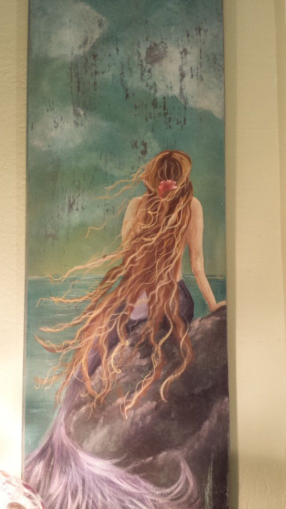 Hand painted mermaid artwork on salvaged wood by TessHome on Etsy, $225.00