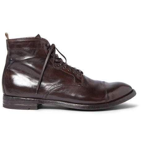 Officine Creative Anatomia Glossed-Leather Boots   MR PORTER